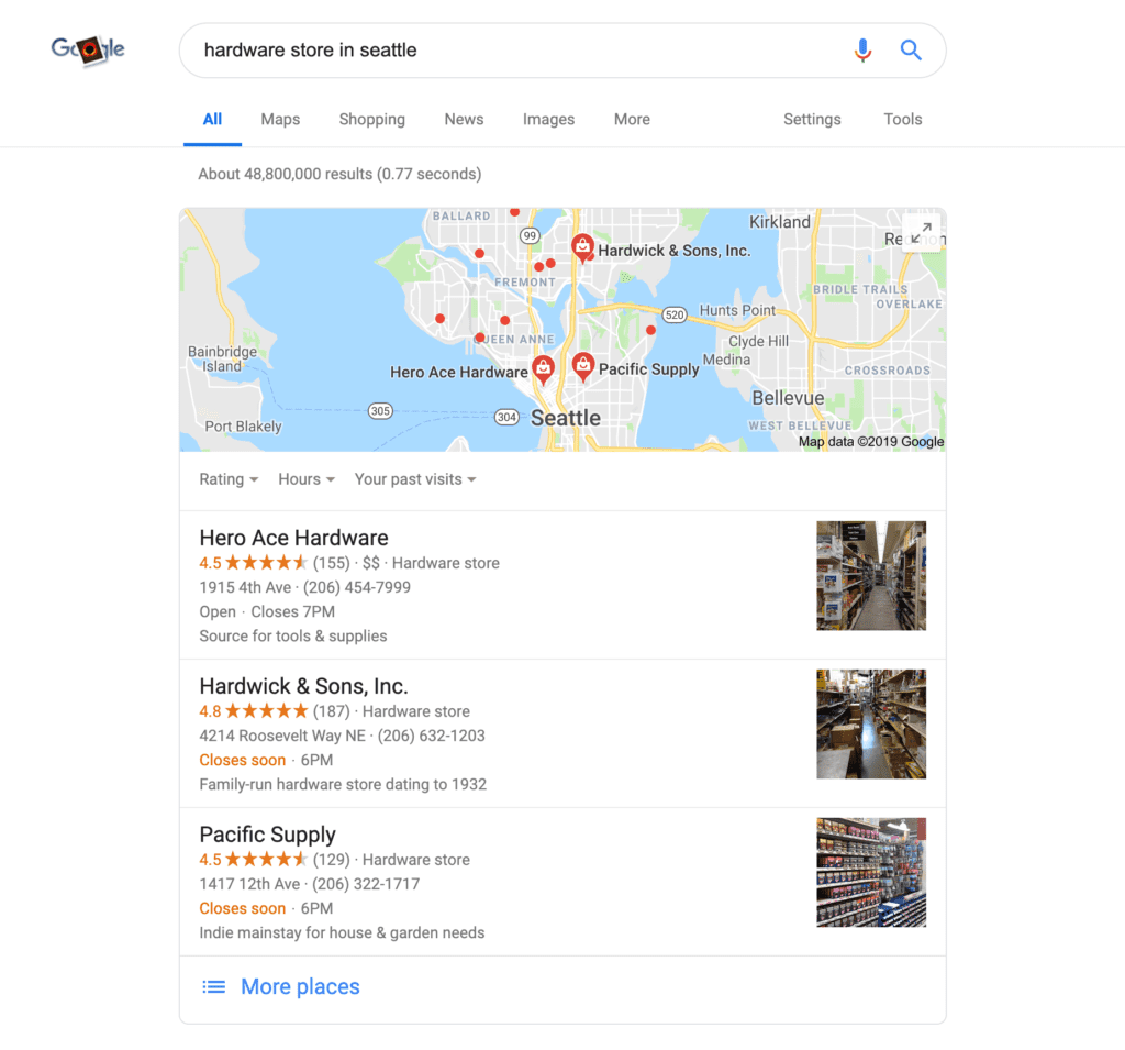 This search for 'hardware stores in Seattle' displays 3 highly rated map results with online reviews.